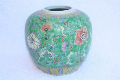 Fine 19thC Chinese Green Ground Famille Rose Lotus Scroll Porcelain Ginger Jar