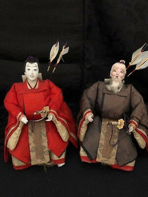Antique Japanese Hina dolls ningyo pair of Imperial Guards Girls Day Festival