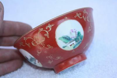 Antique Chinese Coral Ground Medallion Bowl Gilded w/ Famille rose Landscapes
