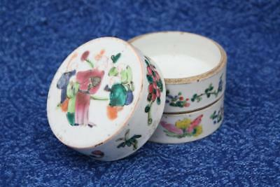 Antique Chinese 19th Century Famille Rose Porcelain Spice Box Jar 3-Tier 9cm VGC