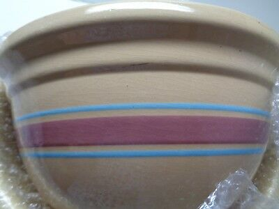 "Vintage USA Oven Ware Mixing BOWL 12"" Pink & Blue Bands Striped WATT POTTERY"