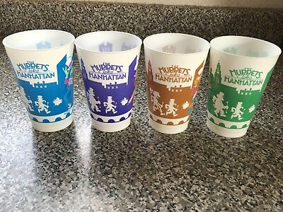1984 Vintage Muppets Take Manhatten Movie Promotional Cups - Complete Set Of 4