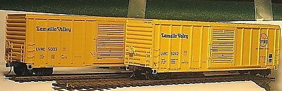 2 HO Athearn Lamoille Valley LVRC 50' PS 5344 cu. ft. Box cars Diff Road #'s OB
