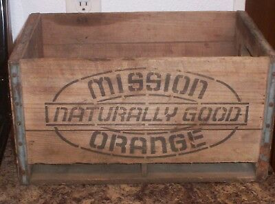 """Vintage Mission Orange Soda """" Naturally Good """" Wooden Crate / Box"""