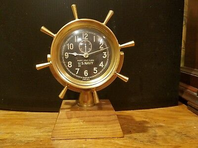 "WWII era Chelsea Ship's Wheel U.S. Navy Mark I Boat Clock- brass black 4"" dial"