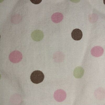 Pink, Brown, and Green Polka Dots on White Crib fitted Sheet by Carters