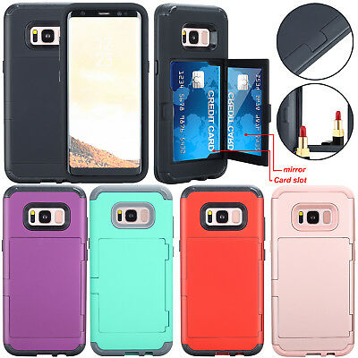 Shockproof Hybrid With Mirror Card Holder Back Case Cover For Samsung S8 S9 Plus