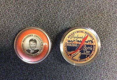 """Toledo Bottle Cap Co Snap-Seal Hood 1936 Dairy Expo 2.75"""" Paperweight Cub Scout"""