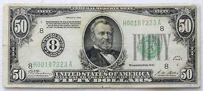 1928 $50 Federal Reserve Note St Louis Redeemable In Gold #8 Tough To Find!!