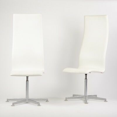 Fritz Hansen Arne Jacobsen Tall Oxford Chair White Leather 2007 7x Avail Knoll