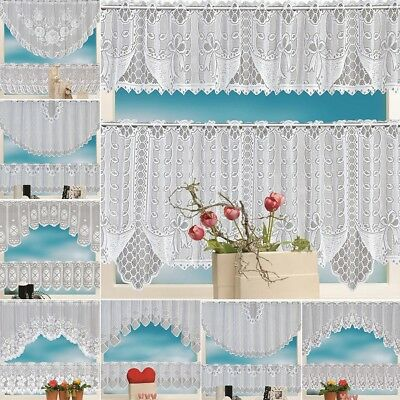 2PCS Lace Coffee Cafe Window Tier Curtain Kitchen Dining Room Home Decor Set Hot