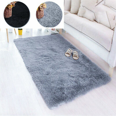 Fluffy Area Rugs Anti-Skid Yoga Carpet For Living Room Rugs Bedroom Gray/Black