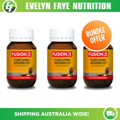 Fusion Health Curcumin Advanced 60 Capsules |Turmeric| Pack of 3+ Free shipping