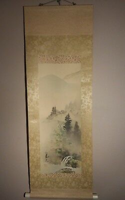 vintage japanese hanging scroll hand painted mountain scene with river signed