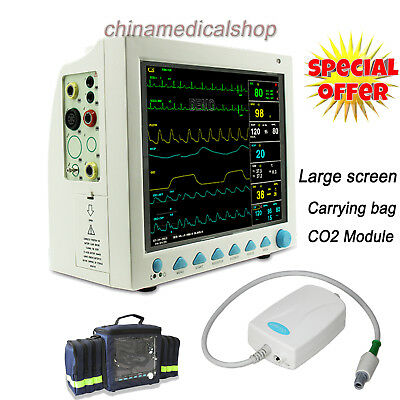 CO2 Function Portable Patient Monitor ICU Vital Signs machine free Bag 12.1 inch