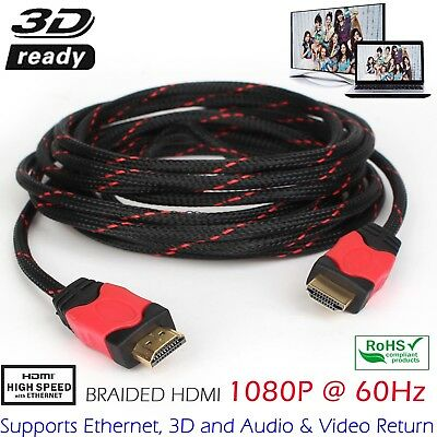 Gold Plated Braided 15FT HDMI Cable V1.4 HD 1080P for LCD DVD HDTV Samsung Lot