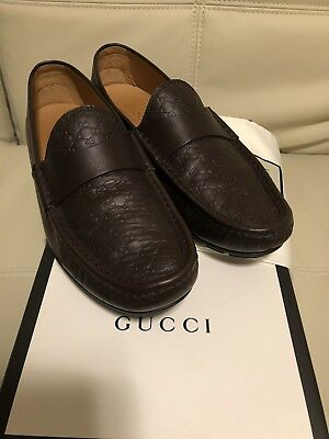 0365c0ebc92 Gucci GG Driving Loafer Shoes Blair Micro Guccissima 10.5 UK 11 US Brown  Mens