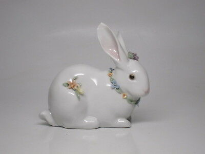 Lladro Attentive Bunny with flowers #6098  Damaged Broken Rabbit White Easter