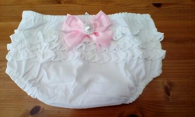 baby girls  white frilly pants/knickers with pink bow size fit baby up 10lb new;