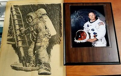 NEIL ARMSTRONG. First Man on the Moon. Autograph Photograph w/ Bonus Paper 49yr!
