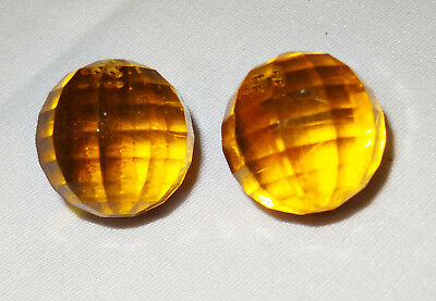 """Vintage Pair Of Clip Earrings Signed Germany, Orange Faceted 7/8"""" Balls"""