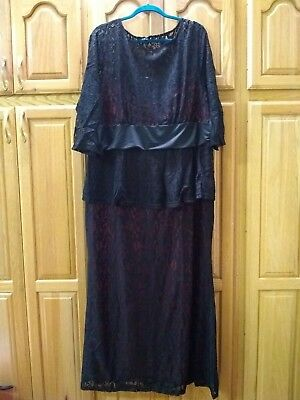 Women's Plus Formal Gown Dress Size (5x) 26W-28W runs small may fit 22W-24W Red