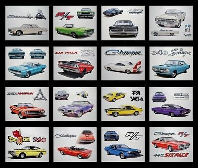 16 Art Prints Posters - Dodge: Hemi 426 392 354 331 413 Wedge Challenger Charger