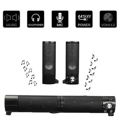 USB Stereo Speakers Built-in Sound Card Sound Bar for Laptop PC Notebook New
