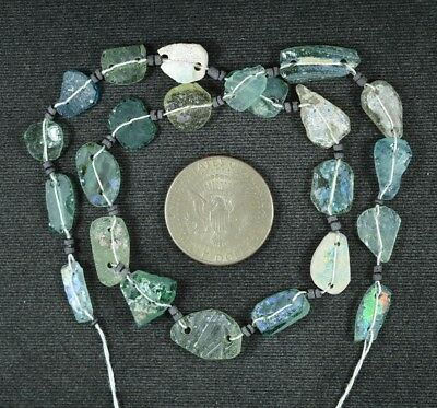 Ancient Roman Glass Beads 1 Medium Strand Aqua And Green 100 -200 Bc 930