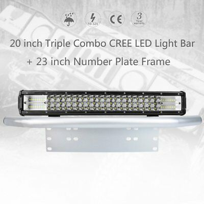 20 inch 460W Triple CREE LED Light Bar SPOT & FLOOD 23inch Number Plate Frame