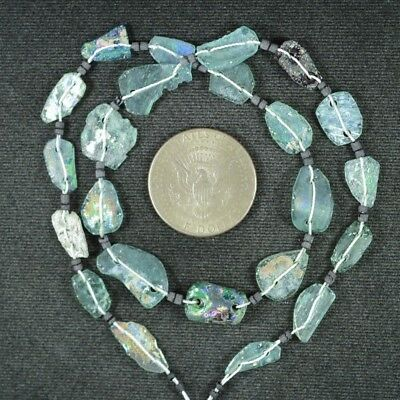 Ancient Roman Glass Beads 1 Medium Strand Aqua And Green 100 -200 Bc 932
