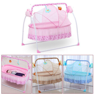 Electric Big Space Baby Crib Cradle Infant Rocker Auto-Swing Baby Sleep Bed Hot