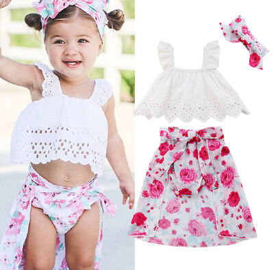 US Stock Kids Baby Girls Tops Floral Skirt Tail Shorts Headband 4PCS Outfits Set