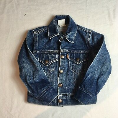 Vintage LEVI'S Sz 6 Childs Jean Jacket Orange Tab Boys Girls USA Made