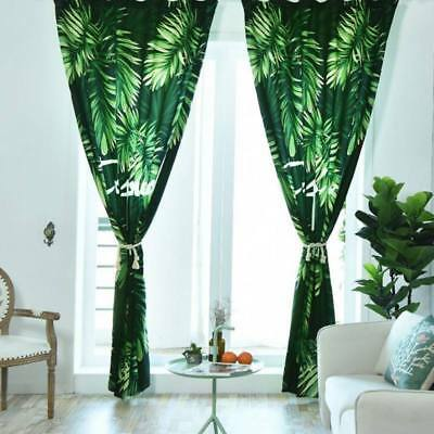 Rain Forest Curtains Tropical Leaves Pattern Thickened Bedroom Window Curtains