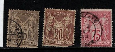 France 1876 15c 20c 75c Type 1 SG 232, 219, 223 Used see note