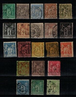 France 1876 1880 Peace and Commerce selection to 1f Type 2?  Used 21 stamps