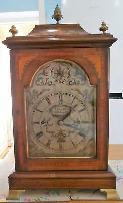 London Triple Fusee Mahogany Inlaid 8 Bell Two Tune Musical Bracket Clock GWO