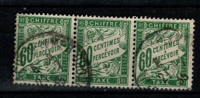 France 1920 1941 Postage Due  60c strip of 3 Used