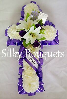 Artificial Silk Funeral Flower Cross Tribute Large Memorial Wreath Personalised