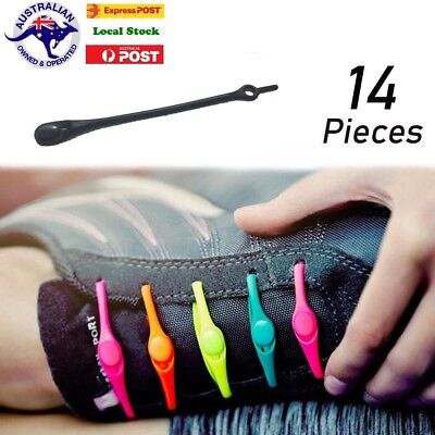 14 Shoelaces No Tie Elastic Silicone Loop N Lock Sneaker Runner Shoe Laces black