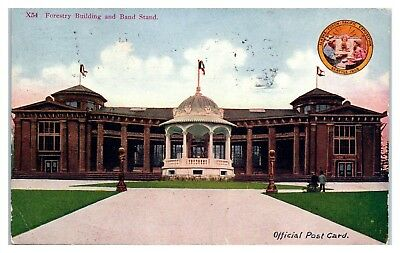 1909 Forestry Building and Bandstand, Alaska-Yukon-Pacific Expo Postcard