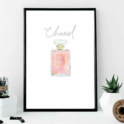 Wall print A4 art chanel perfume bottle with elegant writing pink white beauty