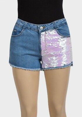 Girls ZARA denim shorts pink & silver sequins Ages 4 5 6 7 8 9-10 11-12 13-14 14