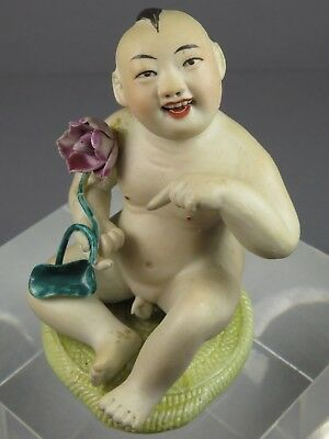 Antique Chinese Bisque Baby Buddha Child With Lotus Flower Figurine
