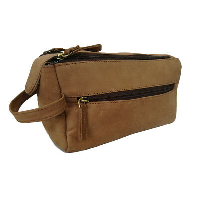 Men's Toiletry Wash Grooming & Shaving Travel Kit Bag Case Brown Leather Pouch