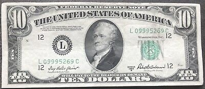 USA 10 Dollar Series 1950 B Federal Reserve Note District L Banknote #9398