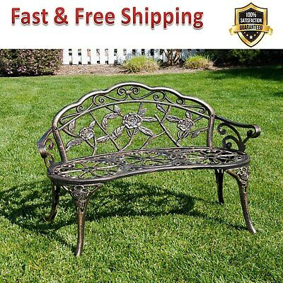 Antique Designed Bench Rose Outdoor Patio Park Garden Bronze Cast Iron Backyard