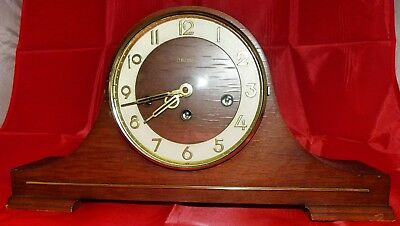 Vintage German Franz Hermle FHS Mantle Clock with Original Key in Walnut Finish