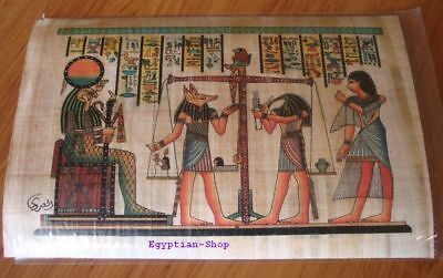 Egyptian  PAPYRUS - Horus - Anubis - Hieroglyphics- Made in Egypt. #423